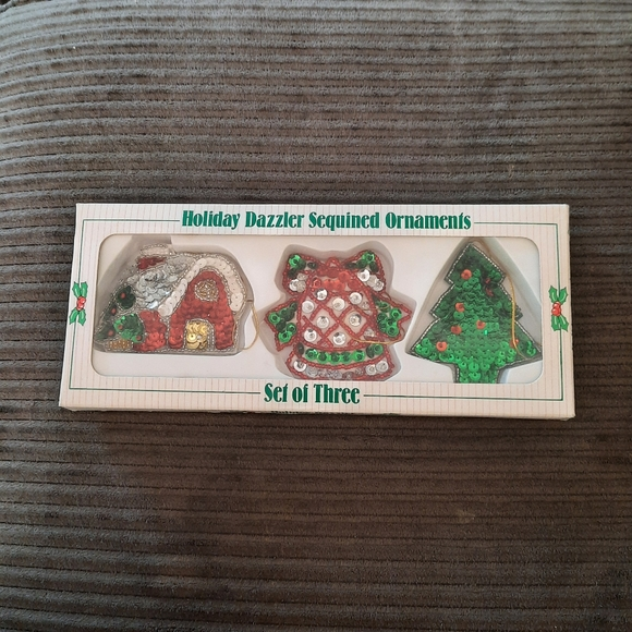 Vintage Holiday Dazzler Sequined Ornaments